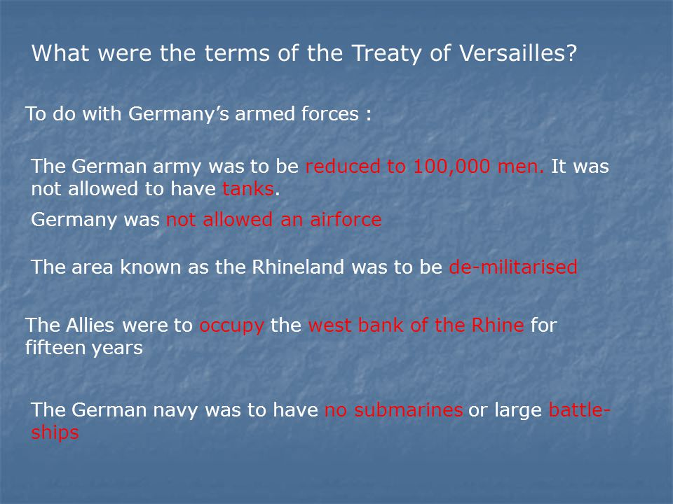 What were the terms of the Treaty of Versailles