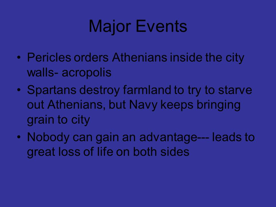Major Events Pericles orders Athenians inside the city walls- acropolis.