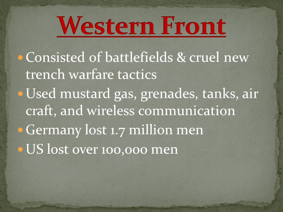 Western Front Consisted of battlefields & cruel new trench warfare tactics.