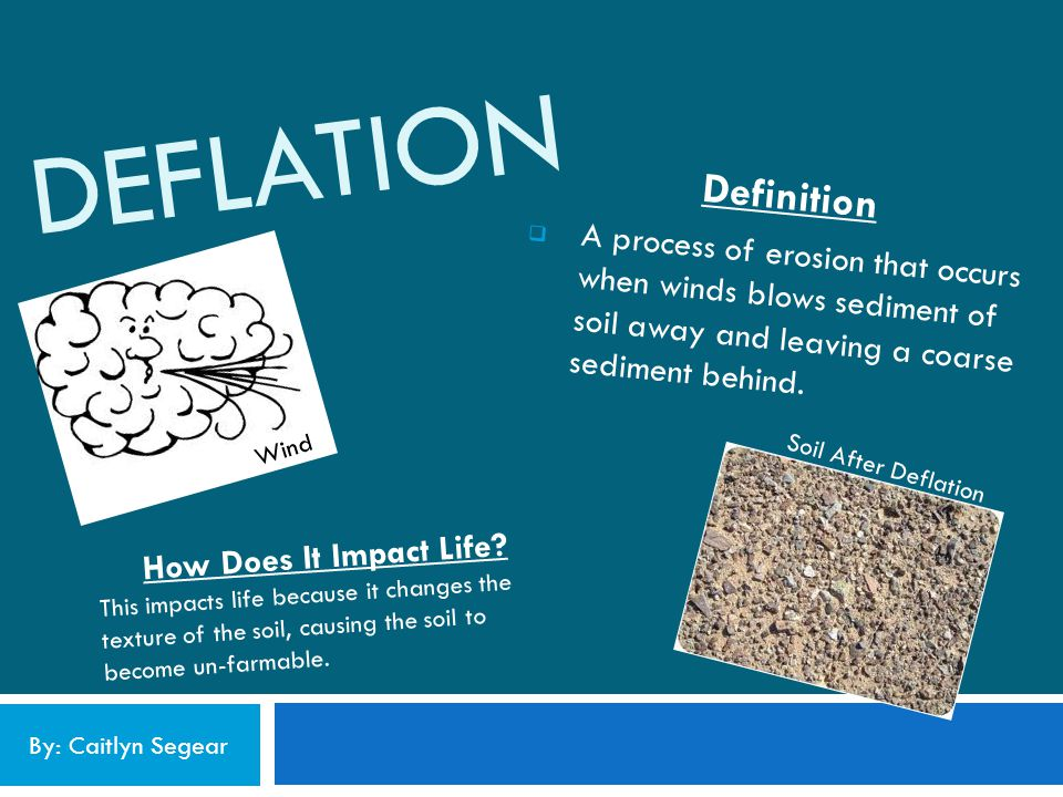 Deflation Definition. A process of erosion that occurs when winds blows sediment of soil away and leaving a coarse sediment behind.