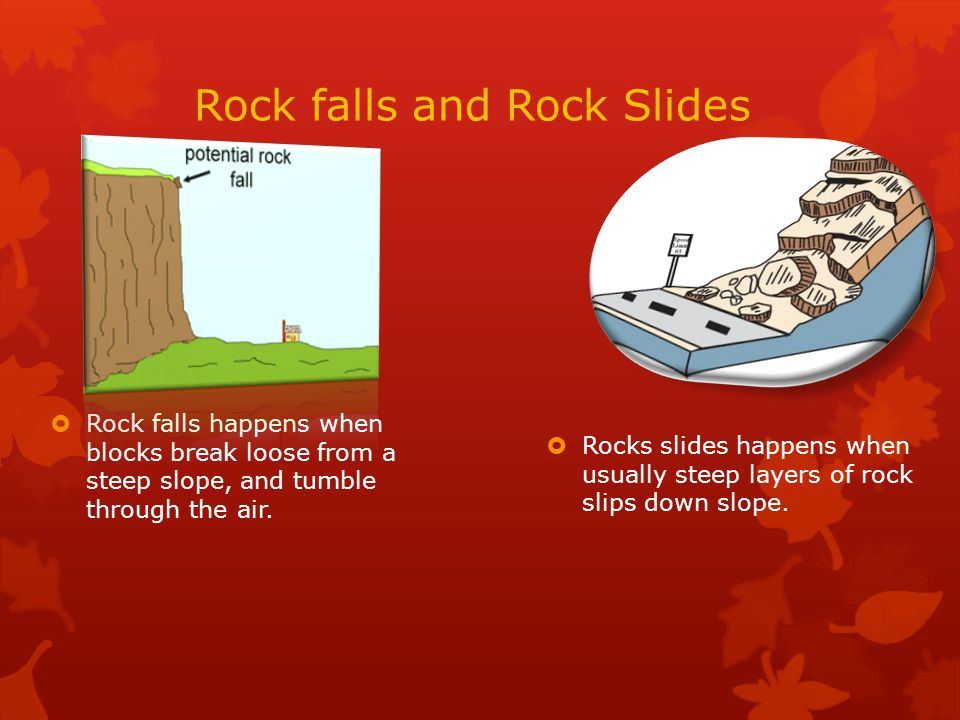 Rock falls and Rock Slides