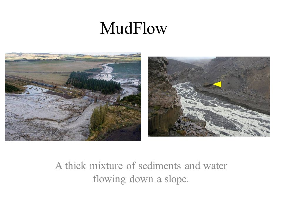 A thick mixture of sediments and water flowing down a slope.