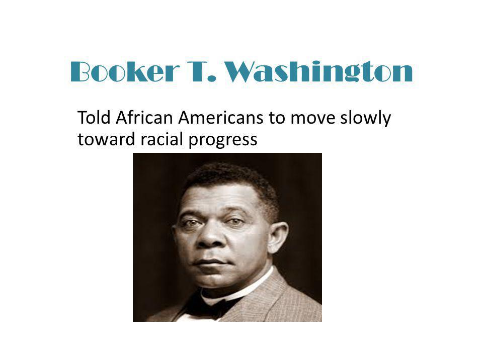 Told African Americans to move slowly toward racial progress
