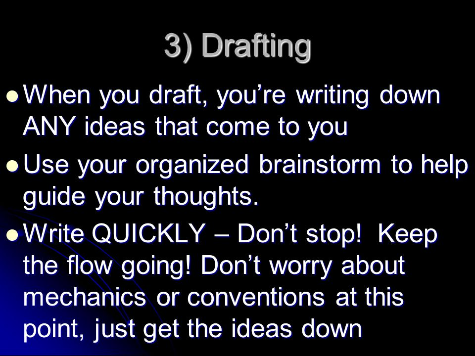 3) Drafting When you draft, you're writing down ANY ideas that come to you. Use your organized brainstorm to help guide your thoughts.