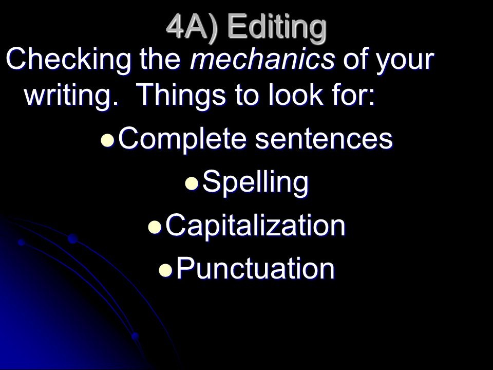 4A) Editing Checking the mechanics of your writing. Things to look for: Complete sentences. Spelling.