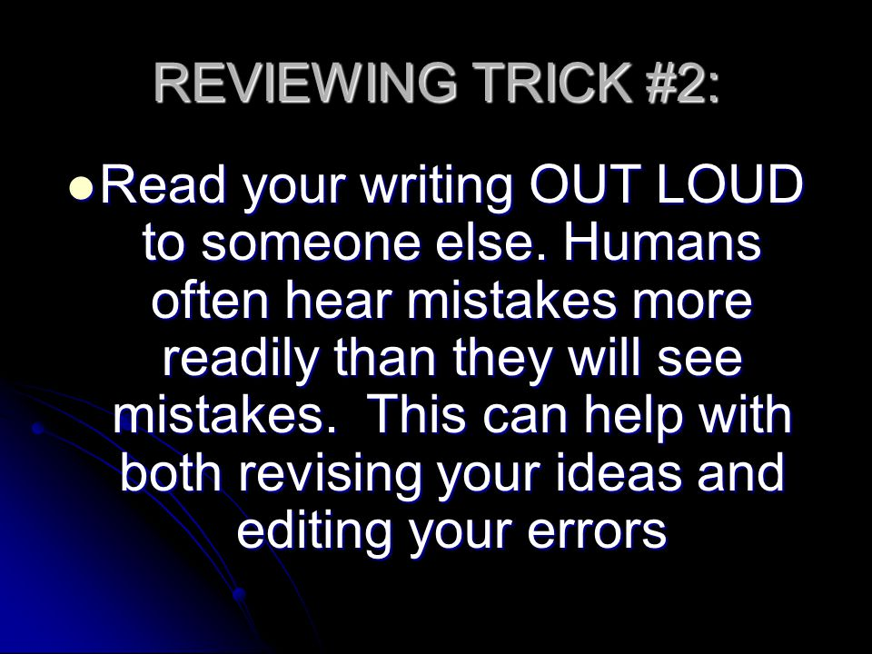 REVIEWING TRICK #2: