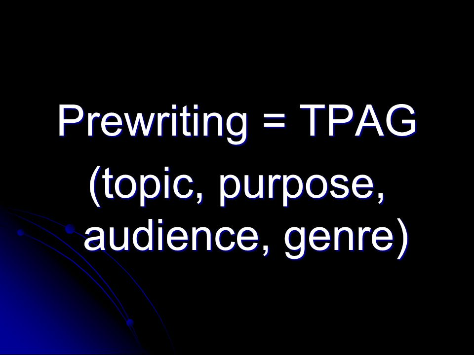 (topic, purpose, audience, genre)