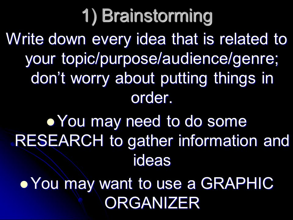 1) Brainstorming Write down every idea that is related to your topic/purpose/audience/genre; don't worry about putting things in order.
