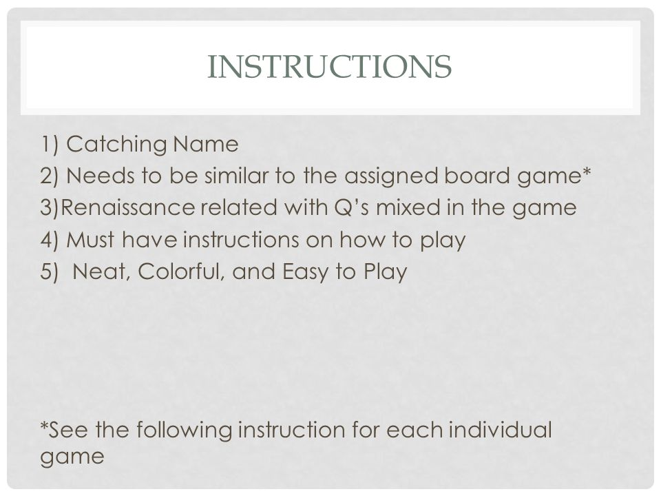 Instructions 1) Catching Name