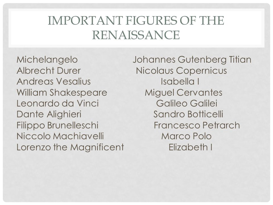 Important Figures of the Renaissance