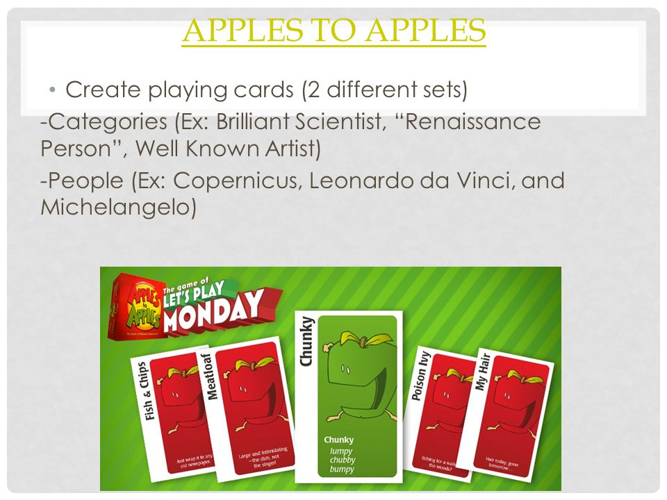 Apples to Apples Create playing cards (2 different sets)