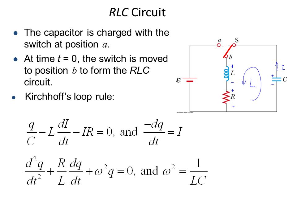 RLC Circuit The capacitor is charged with the switch at position a.