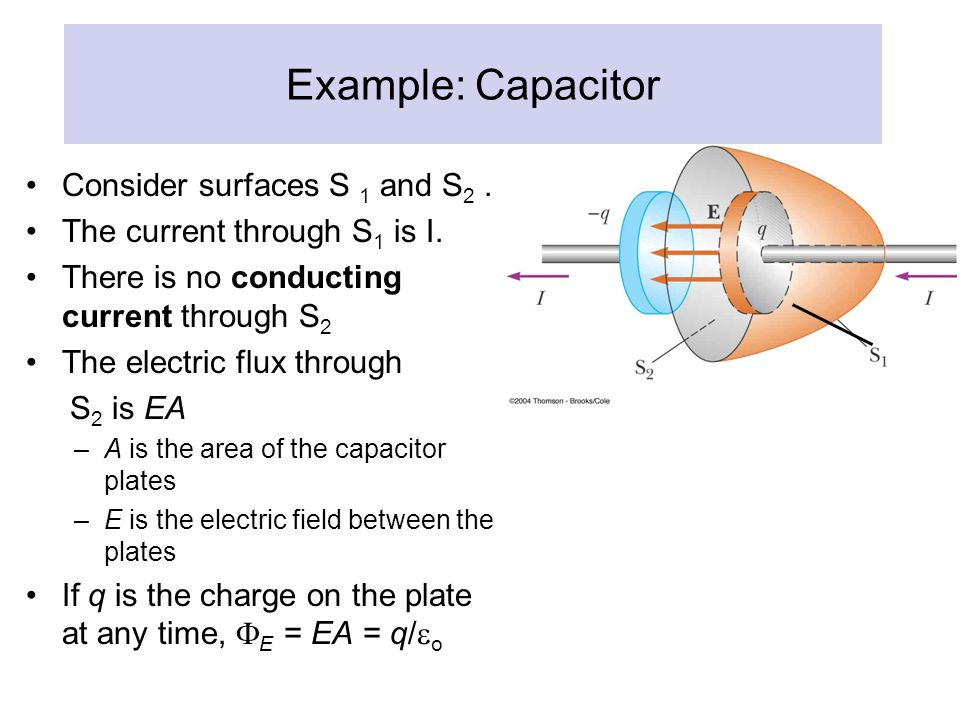 Example: Capacitor Consider surfaces S 1 and S2 .