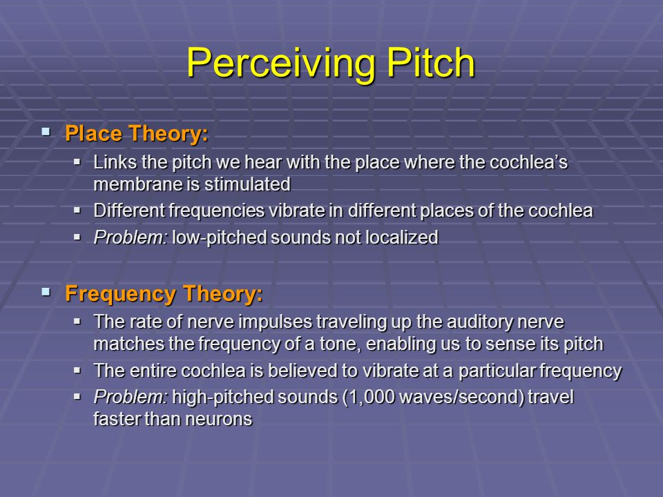 Perceiving Pitch Place Theory: Frequency Theory:
