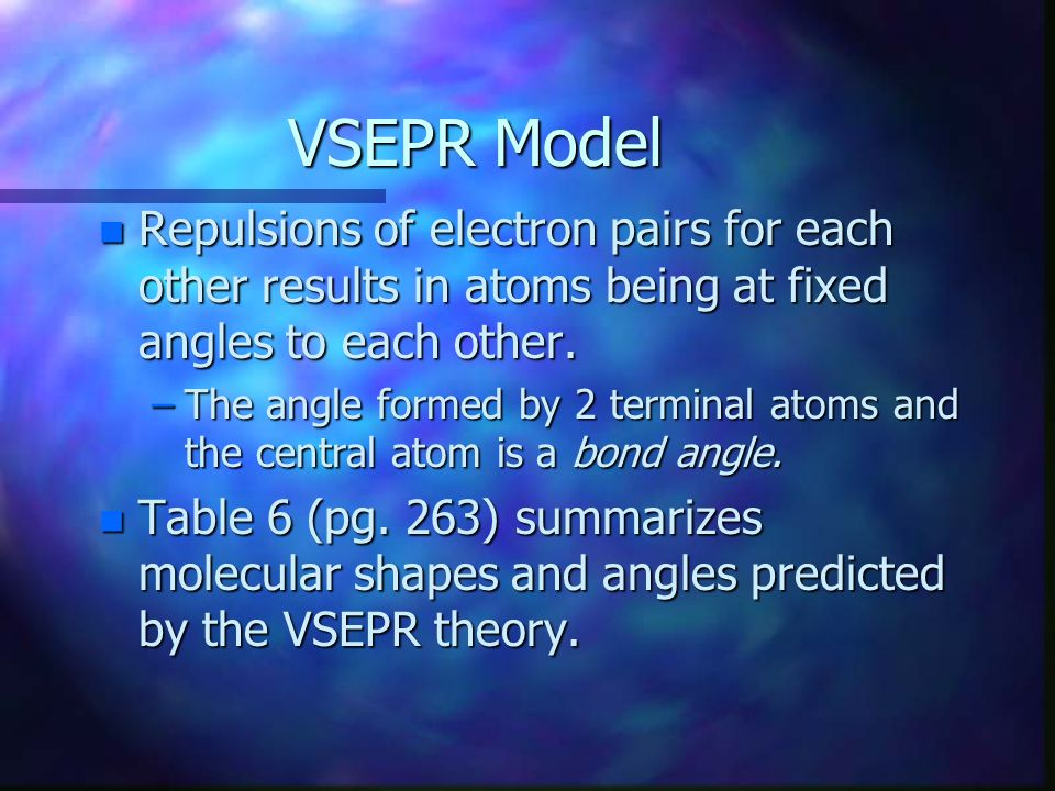 VSEPR Model Repulsions of electron pairs for each other results in atoms being at fixed angles to each other.