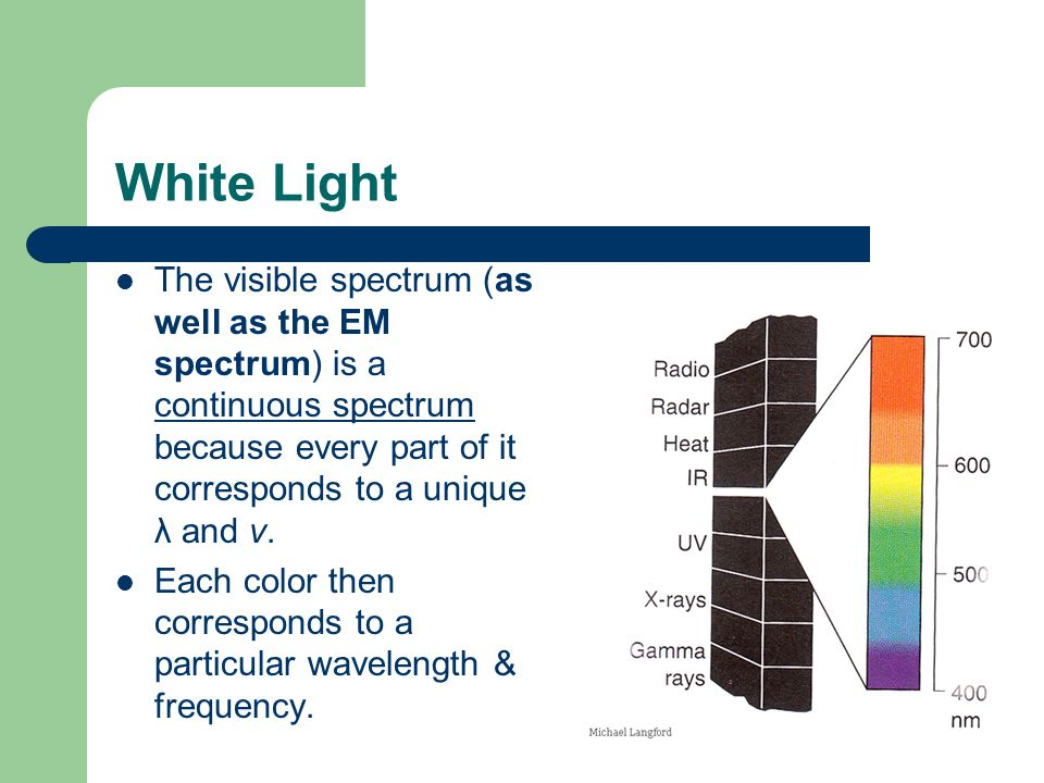 White Light The visible spectrum (as well as the EM spectrum) is a continuous spectrum because every part of it corresponds to a unique λ and ν.