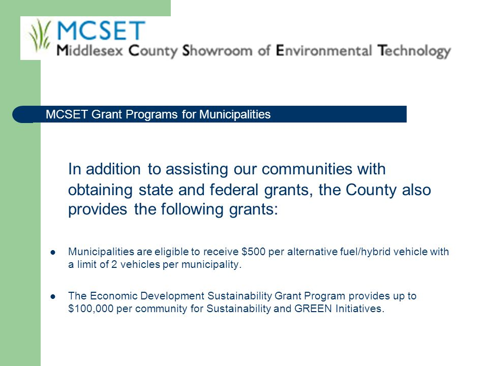 MCSET Grant Programs for Municipalities