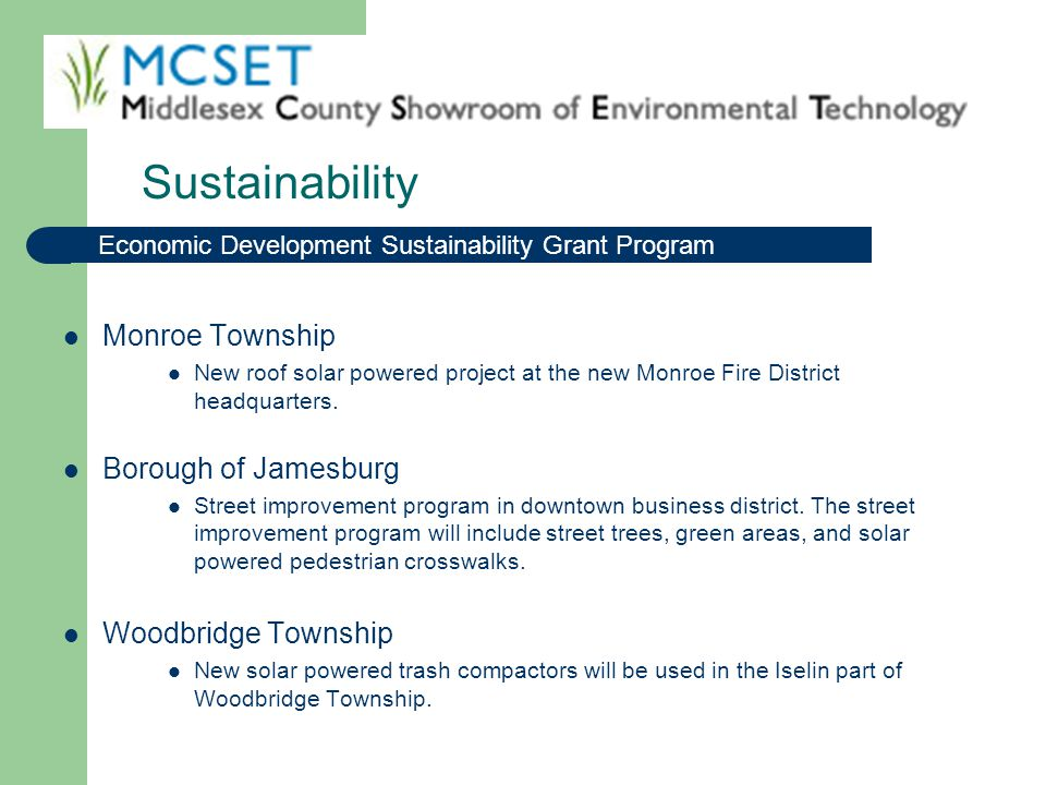 Sustainability Monroe Township Borough of Jamesburg