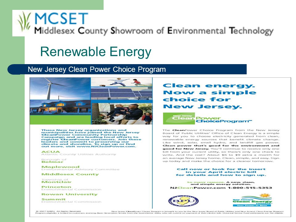 Renewable Energy New Jersey Clean Power Choice Program