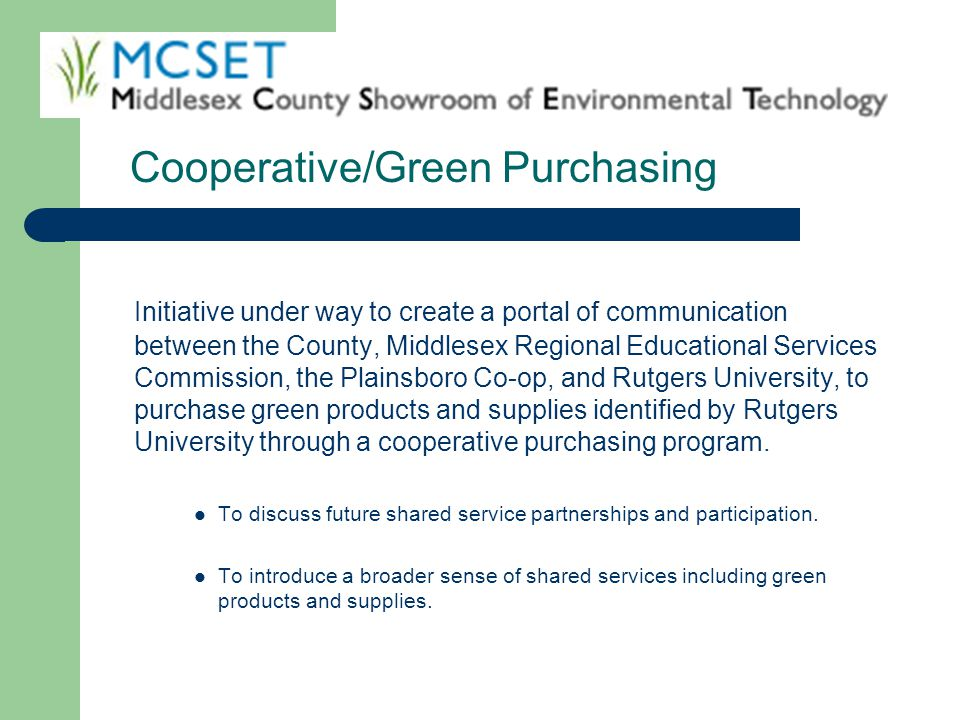 Cooperative/Green Purchasing
