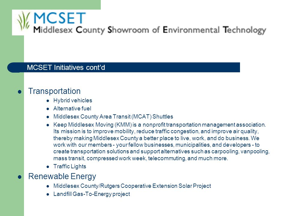 Transportation Renewable Energy MCSET Initiatives cont'd