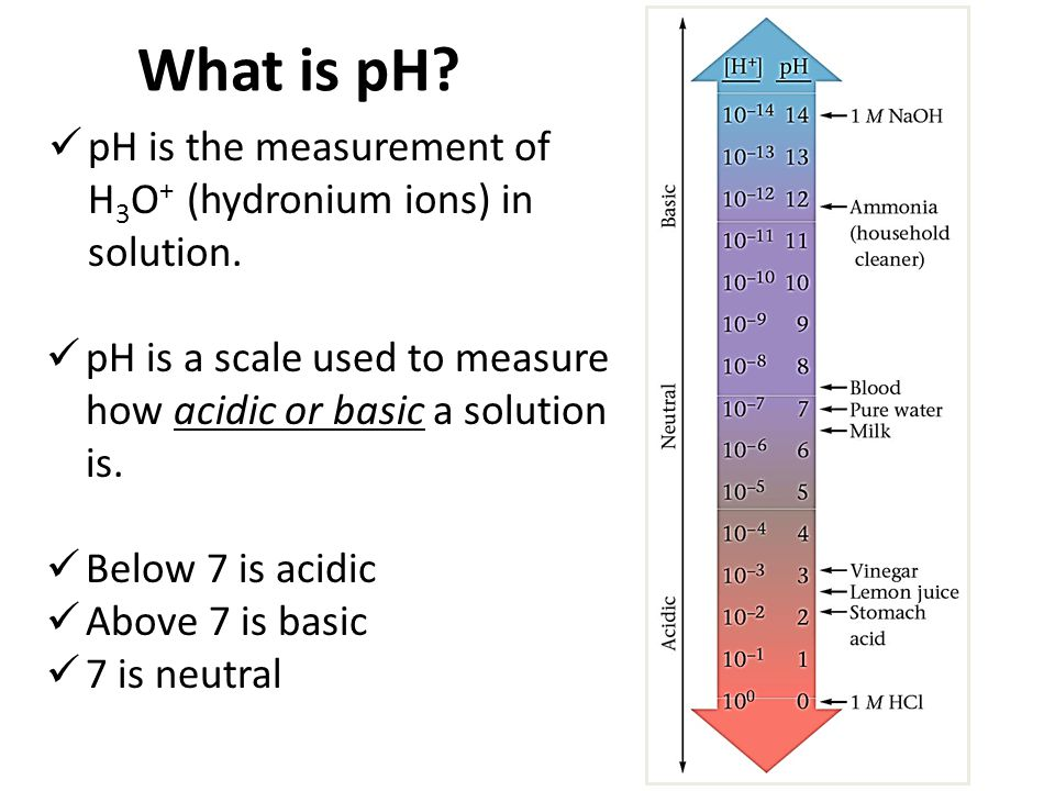What is pH pH is the measurement of H3O+ (hydronium ions) in solution. pH is a scale used to measure how acidic or basic a solution is.