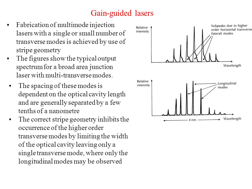 Gain-guided lasers Fabrication of multimode injection lasers with a single or small number of transverse modes is achieved by use of stripe geometry.