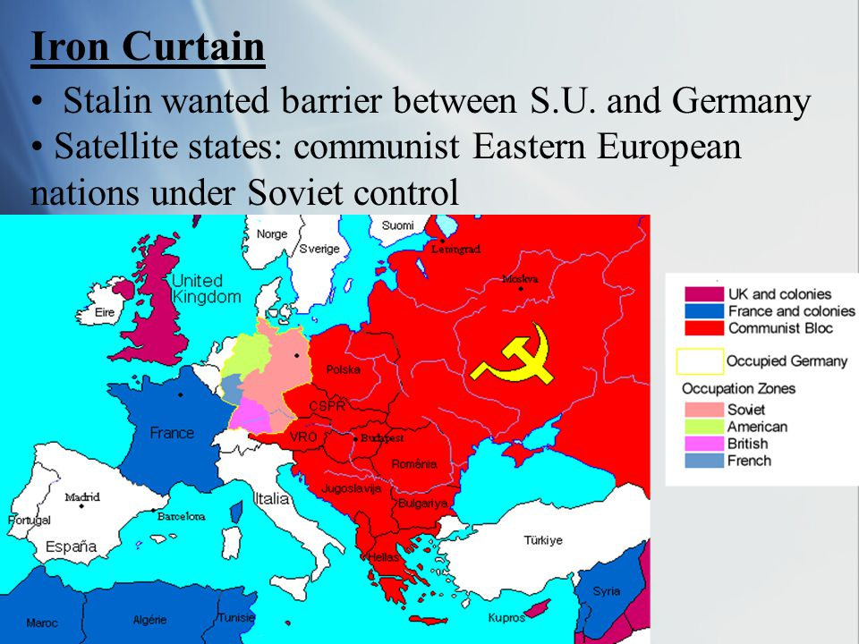 Iron Curtain Stalin wanted barrier between S.U. and Germany