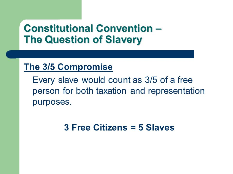 Constitutional Convention – The Question of Slavery