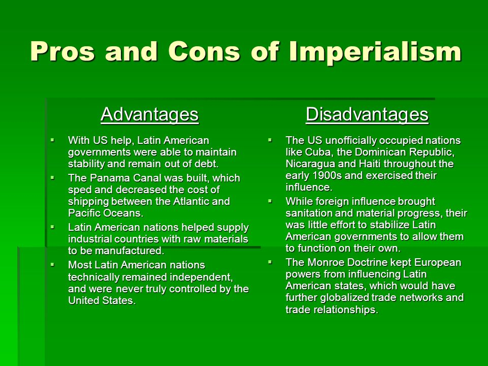 Pros and Cons of Imperialism