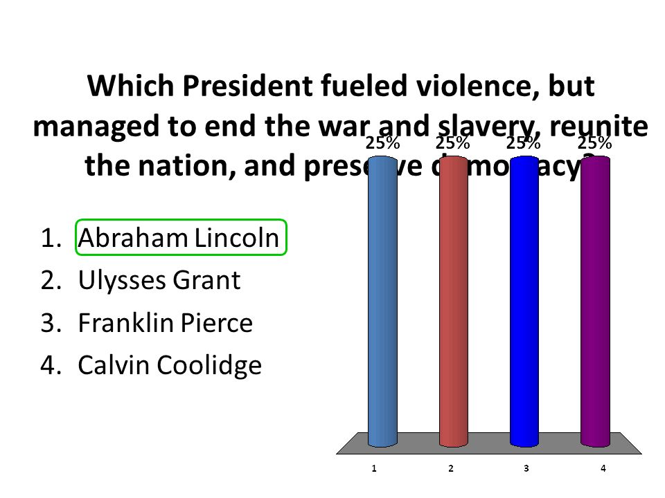 Which President fueled violence, but managed to end the war and slavery, reunite the nation, and preserve democracy