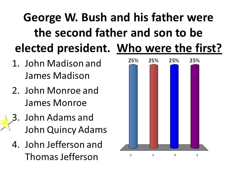 George W. Bush and his father were the second father and son to be elected president. Who were the first