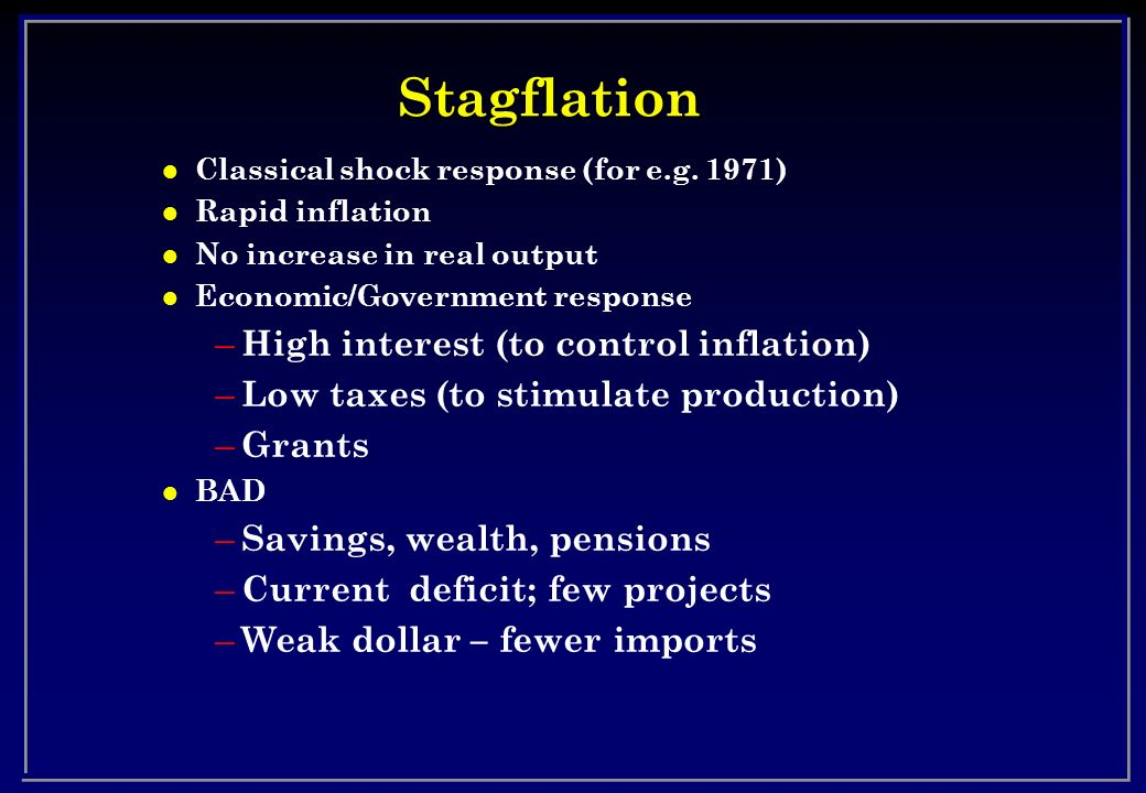 Stagflation High interest (to control inflation)