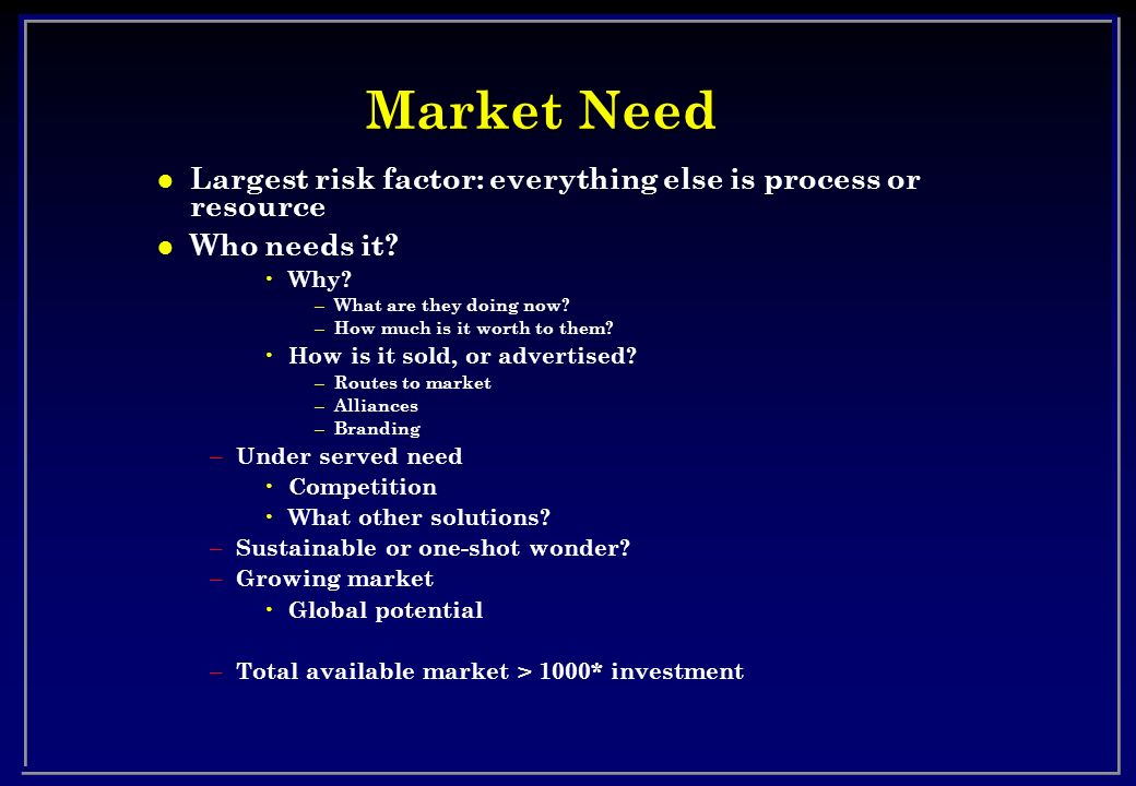 Market Need Largest risk factor: everything else is process or resource. Who needs it Why What are they doing now
