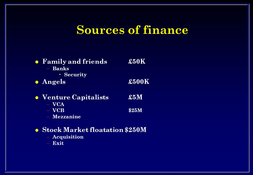 Sources of finance Family and friends £50K Angels £500K