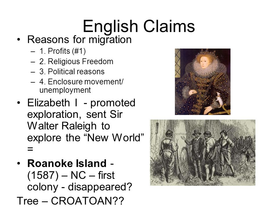 English Claims Reasons for migration