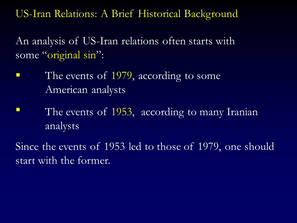 US-Iran Relations: A Brief Historical Background