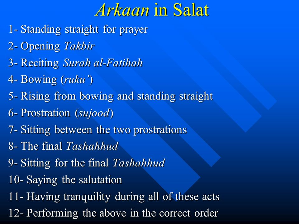 Arkaan in Salat 1- Standing straight for prayer 2- Opening Takbir