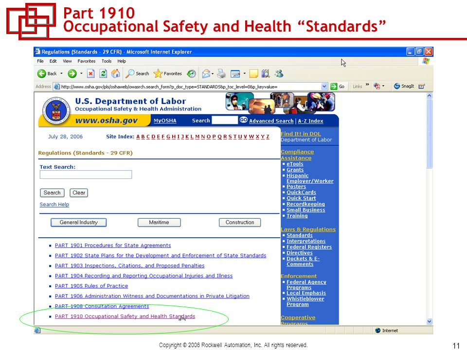 Part 1910 Occupational Safety and Health Standards