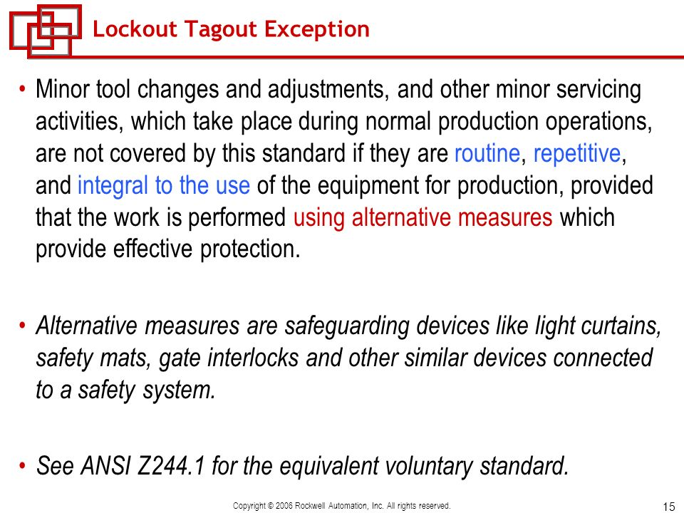 Lockout Tagout Exception