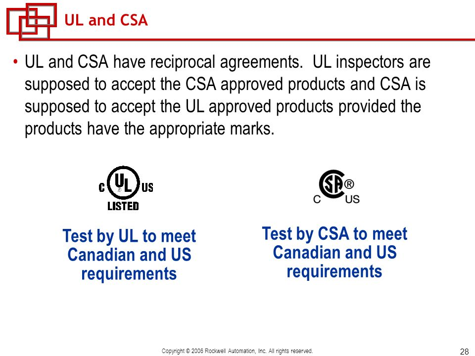 Test by UL to meet Canadian and US requirements