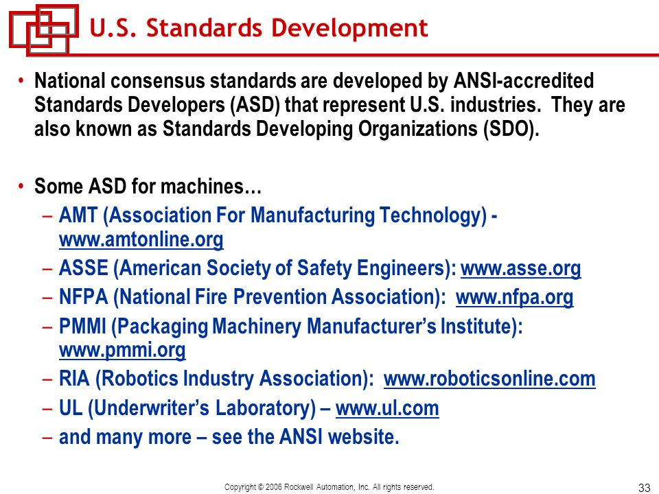 U.S. Standards Development