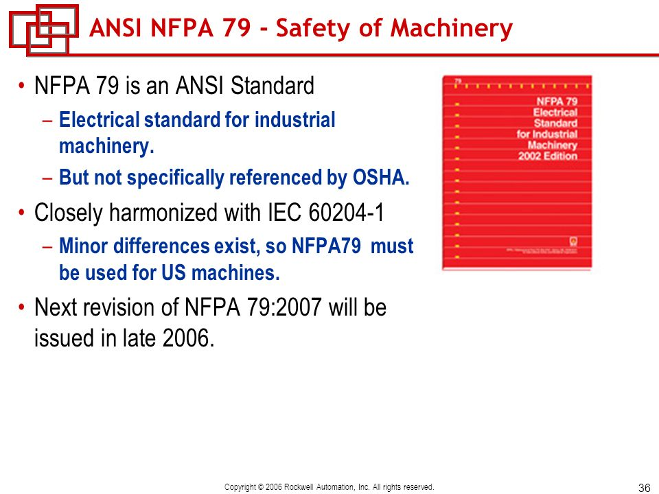 ANSI NFPA 79 - Safety of Machinery
