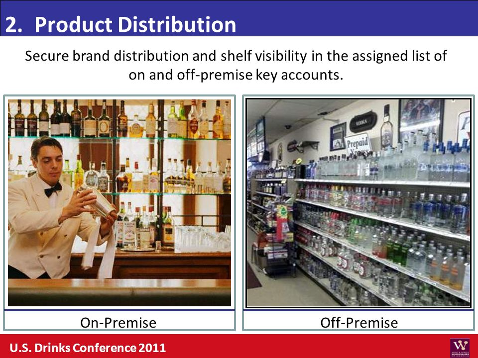2. Product Distribution Secure brand distribution and shelf visibility in the assigned list of. on and off-premise key accounts.