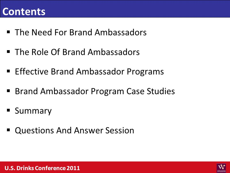 Contents The Need For Brand Ambassadors The Role Of Brand Ambassadors