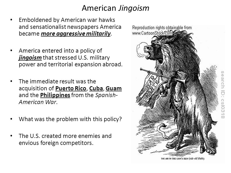 American Jingoism Emboldened by American war hawks and sensationalist newspapers America became more aggressive militarily.