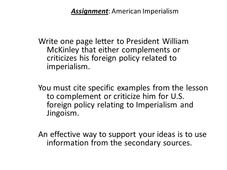 Assignment: American Imperialism