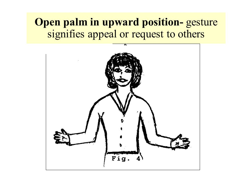Open palm in upward position- gesture signifies appeal or request to others