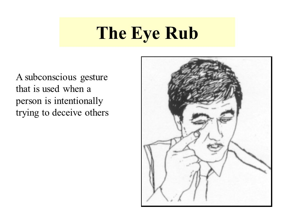 The Eye Rub A subconscious gesture that is used when a person is intentionally trying to deceive others.