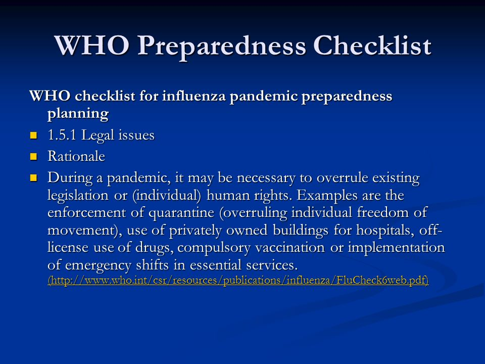 WHO Preparedness Checklist